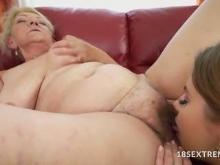 Teen and Grandma in Nasty Licking
