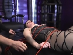 Veruca James wears hot lingerie while being tied up by a hunk