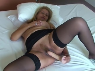 Gladis enjoys plowing her pussy with a massive sex toy