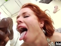 Redhead girl loves to get both her holes fucked at the same time