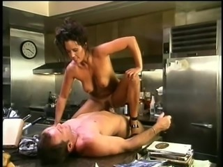 Savage dick-riding performed by a salacious buxom sex machine