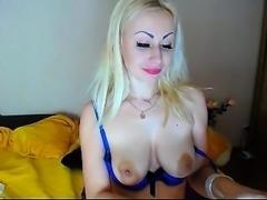 Short sexy dress on solo blonde milf