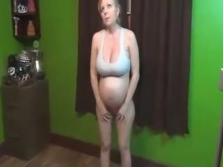 Perverted pregnant blonde measured her super saggy big boobies