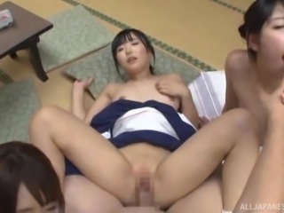 Goreous Japanese women want to play with an erected dick