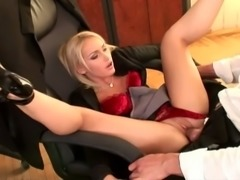 Slutty secretary Kathia Nobili gives her boss a ride on the office table