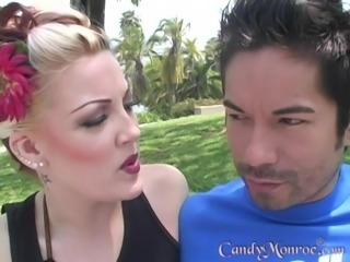 Candy Monroe fucked by a black guy in front of a cuckold