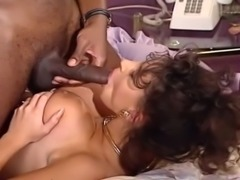 Exquisite interracial anal sex with hot brunette and black young man