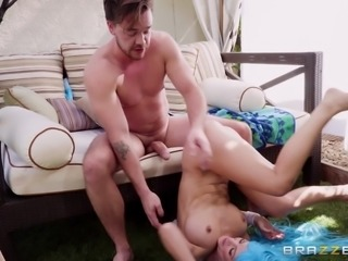 blue haired chick takes an ass fucking