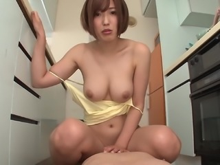 Asahi with small tits enjoying getting fucked hardcore in the kitchen