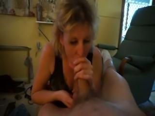 Craving for cum MILF sucking my dick deepthroat