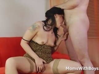 Horny brunette mom came to us to experience porn.