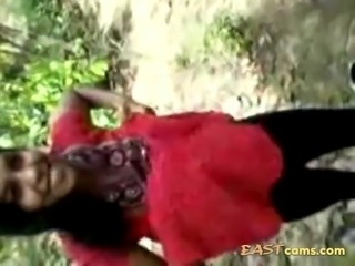Indian slut outdoor in jungle gets hairy pussy fucked by stranger