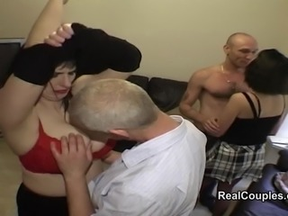 Two mature swinging couples swap partners for group anal