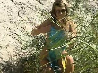 Amateur teen outdoor solo play
