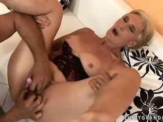 Mature Blonde Grandma rides Dick, First time in Years.!
