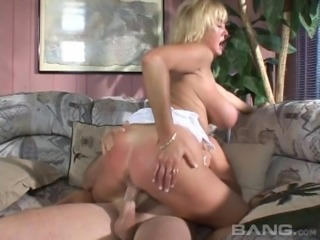 A chubby MILF lets a younger guy lay the pipe and make her cum