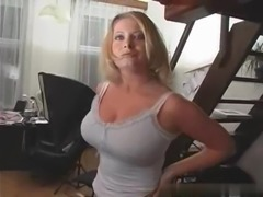 Beautiful blonde milf have big natural tits and she is very horny.