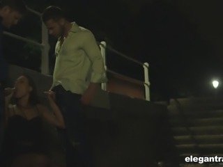 Mea Melone turns romantic walk near the river into hot MMF threesome
