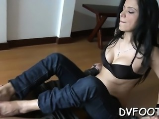Nasty angel dominates and grinds dick with her sexy feet