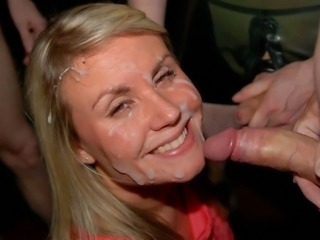 Here's an awesome bukkake party with the cum craving bitches