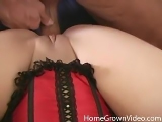 Curvy Asian model shaved pussy passionately licked