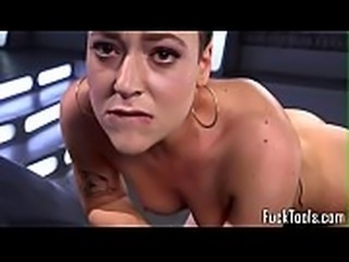 Toy loving babe drilled hard with machine