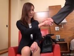 Horny secretary lets a guy examine her stunning curves