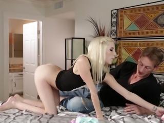 Skinny blonde Piper loving monster cock hardcore power