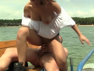 Natural tits Rita riding monster cock hardcore while she moans