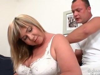Chubby and horny whore Lily really seems to want her masseur's cock