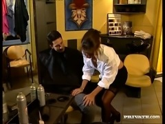 Nasty brunette bitch Maria Bellucci blows hard dick of her horny client
