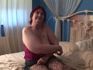 Granny BBW Jose giving monster cock superb blowjob