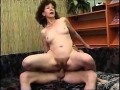 Brunette mature hairy twat drilled