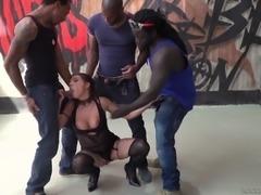Gorgeous Henessy cannot resist three massive black cocks