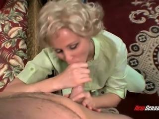 Mature blonde slut Julia Anna sucking Levi Cash' hard dick