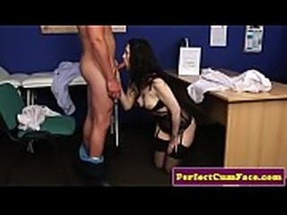 Cocksucking babe facialized by her doctor