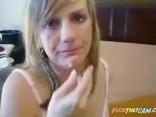 Horny blonde slut sucks big cock