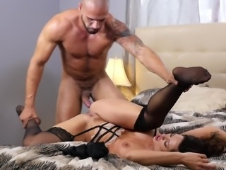 Fake tits Holly in stockings cock riding monster cock
