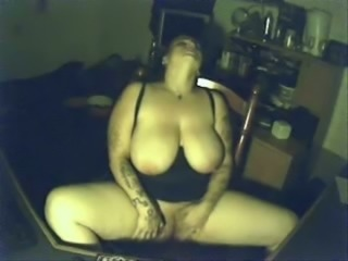 Glorious voluptuous brunette BBW with huge ass masturbates herself