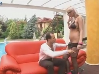 Four eyed sexy blond head Alexis knocks dude off his feet during oral sex
