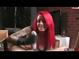 Red Haired Handjob With Black Gloves