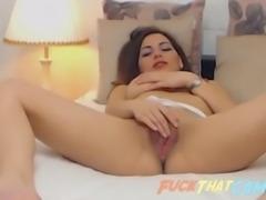 brunette slut on webcam fingering and masturbating her horny pussy