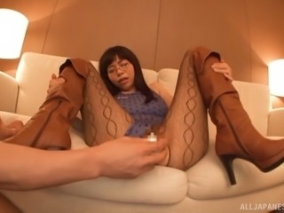 Stunning Japanese girl in glasses and pantyhose gets fingered