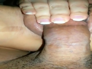 Friend's slutty wife plays with his dick and her own meaty cunt