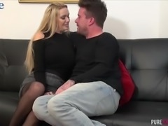 Fervent bosomy blonde cowgirl Amber Jayne gets also fucked mish