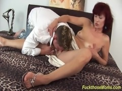 skinny redhead horny step mom loves to deepthroat a strong cock for a wild...