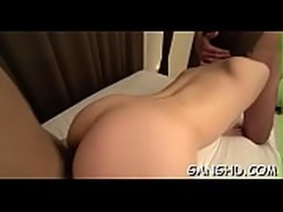 Adorable oriental cowgirl riding