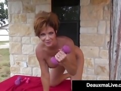 Busty Cougar Deauxma Oils Up & Exercises Nude On Her Porch!