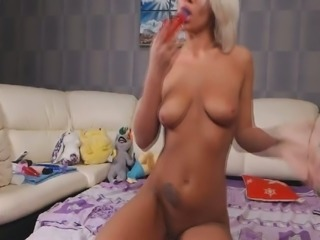 Torrid all alone blond haired nympho with big tits uses a dildo for her solo