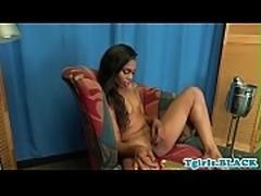 Ebony tgirl with small tits masturbating solo